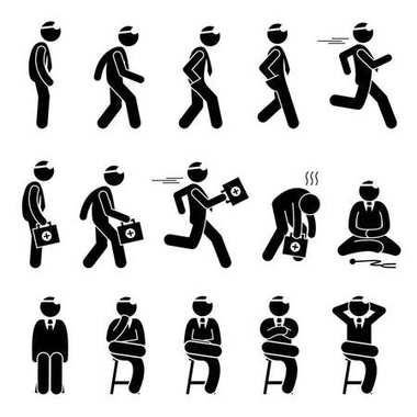 Basic Doctor Movements and Actions. Stick figure pictogram depicts a doctor standing, walking, running and sitting. The doctor is running fast carrying first aid kit representing emergency and urgent.