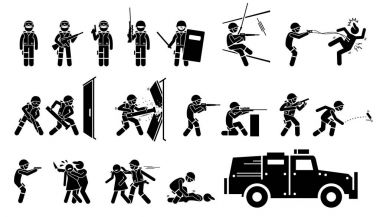 SWAT Special Weapons and Tactics Icons. Stickman pictogram set depicts SWAT police actions, poses with guns and weapons, breaking door, standoff, rescue hostage, fighting criminal, and a SWAT vehicle.