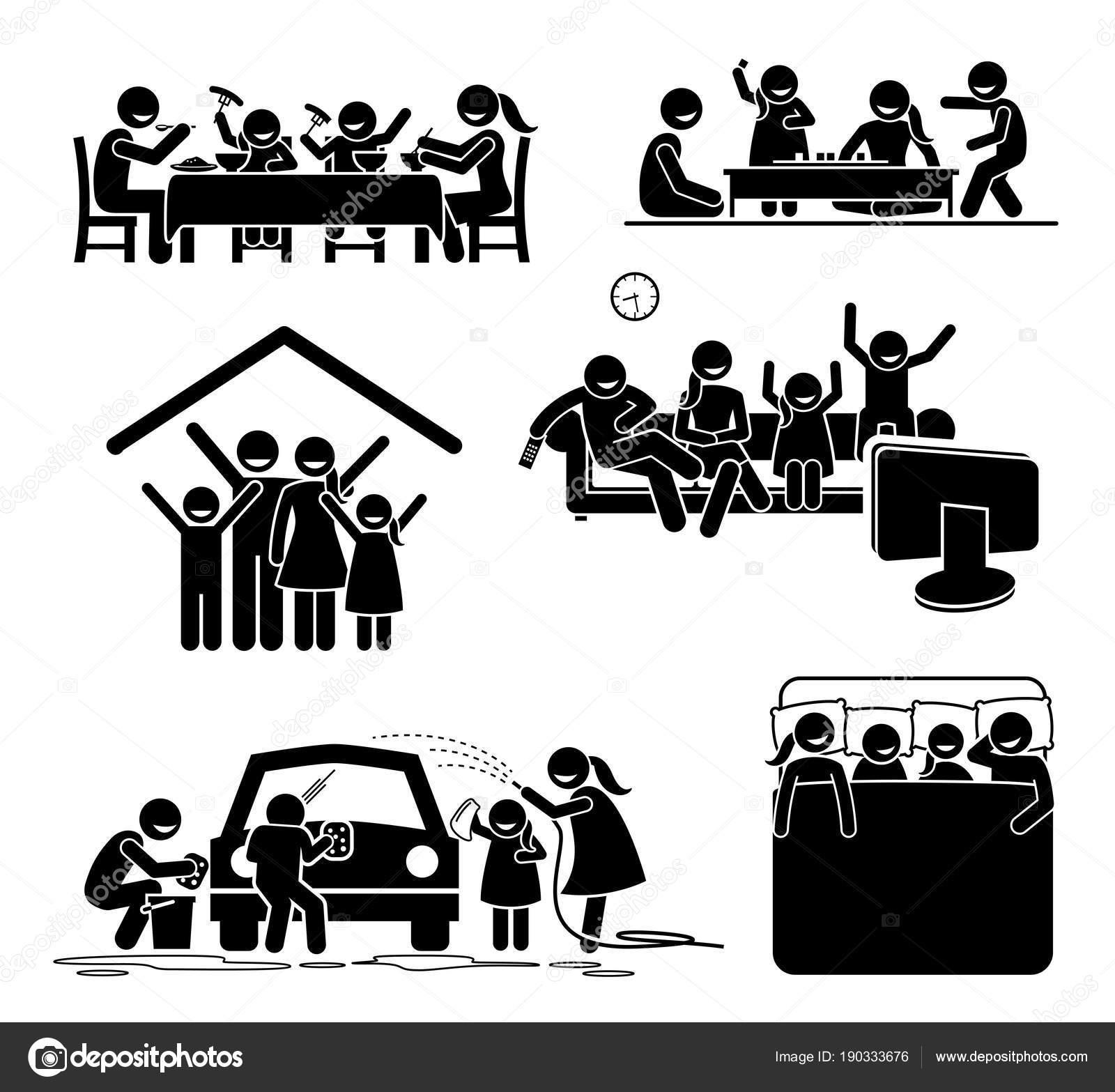 Tiempo Actividades Familiares Casa Figuras Palo Pictograma