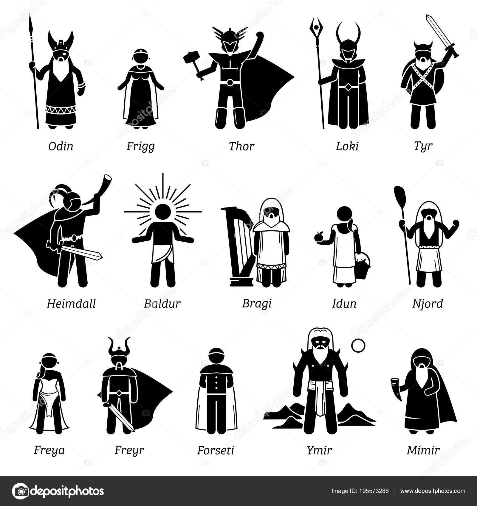 ancient norse mythology gods goddesses characters icon set stock