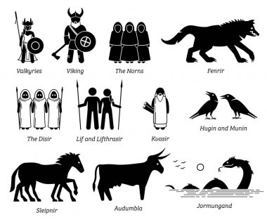 Ancient Norse Mythology People, Monsters and Creatures Characters Icon Set