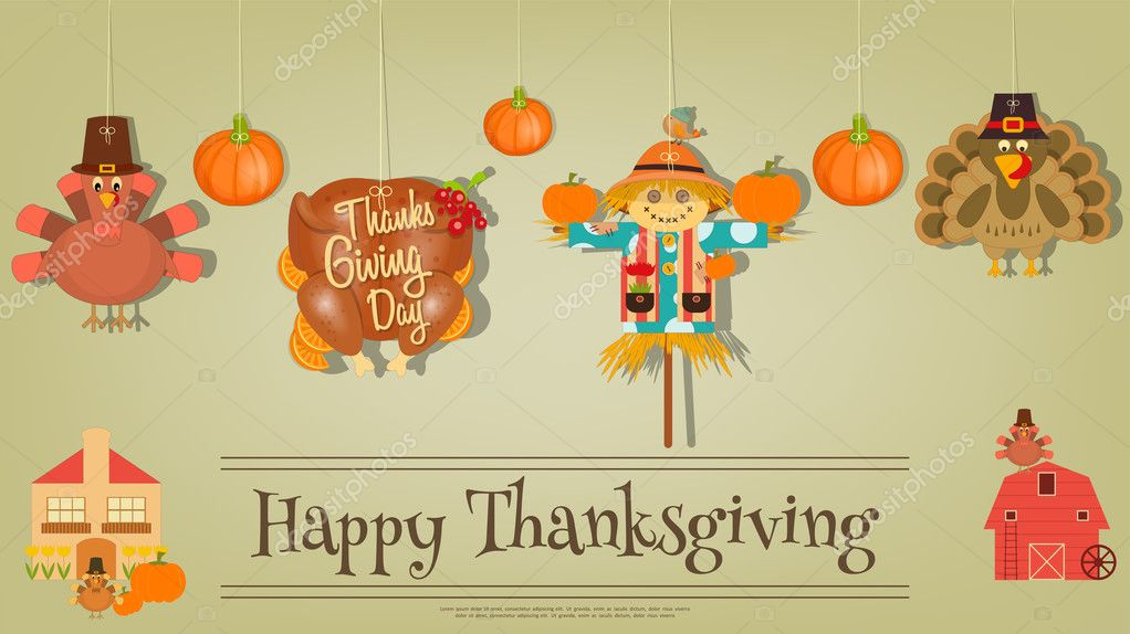 Thanksgiving Poster Symbols And Signs Of Turkey Day Stock Vector