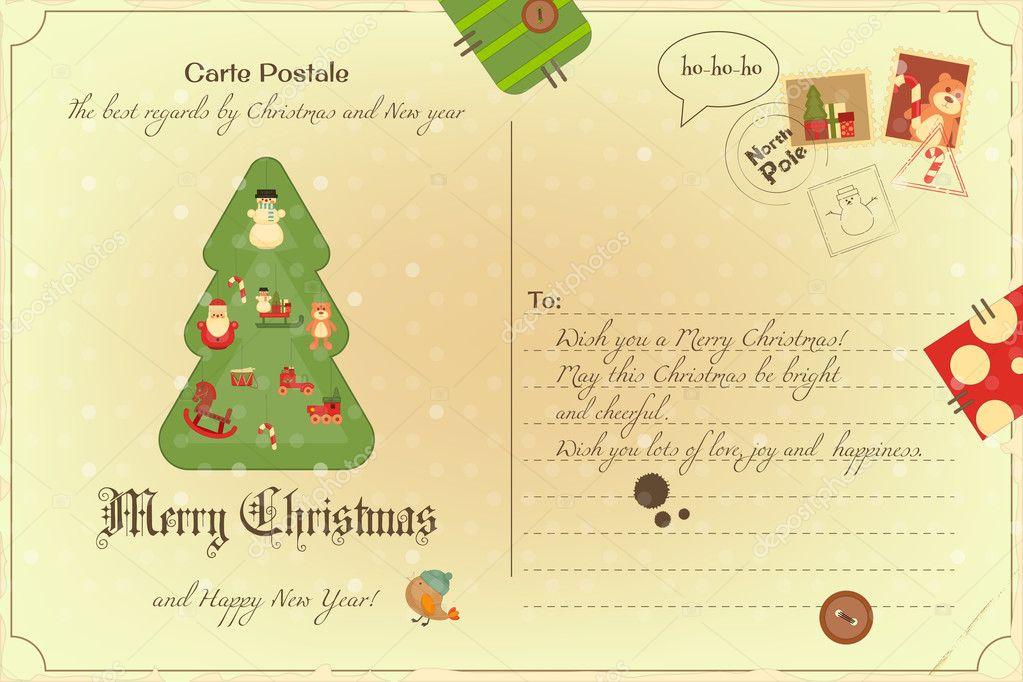 Imagenes Vintage Navidad Postal Vintage Navidad Vector De Stock - Vintage-navidad