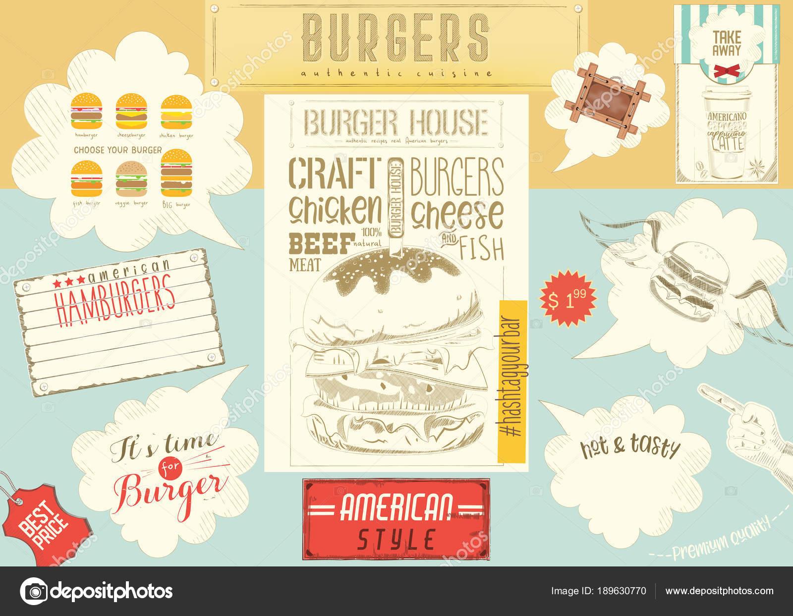 Mantel individual de menú plantilla para Burger House — Vector de ...