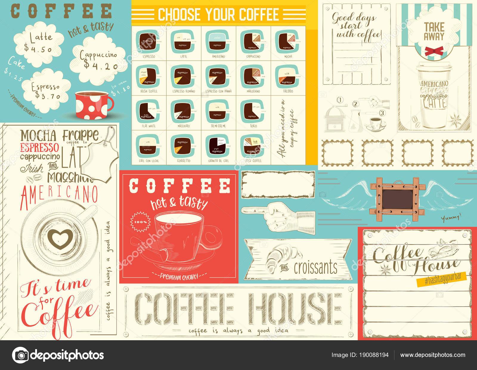 Plantilla de mantel café menú — Vector de stock © elfivetrov #190088194