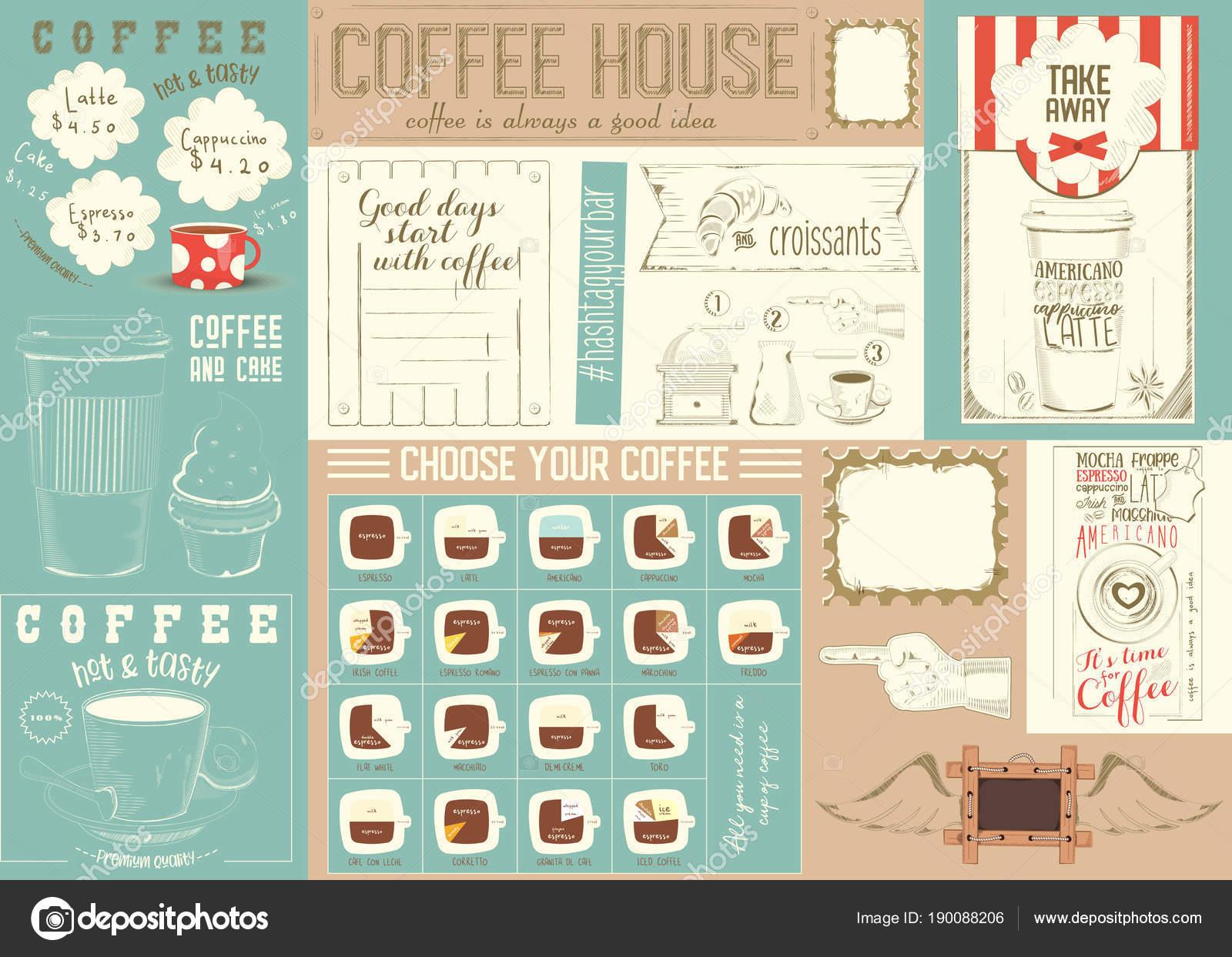 Kaffee Menüvorlage Tischset — Stockvektor © elfivetrov #190088206