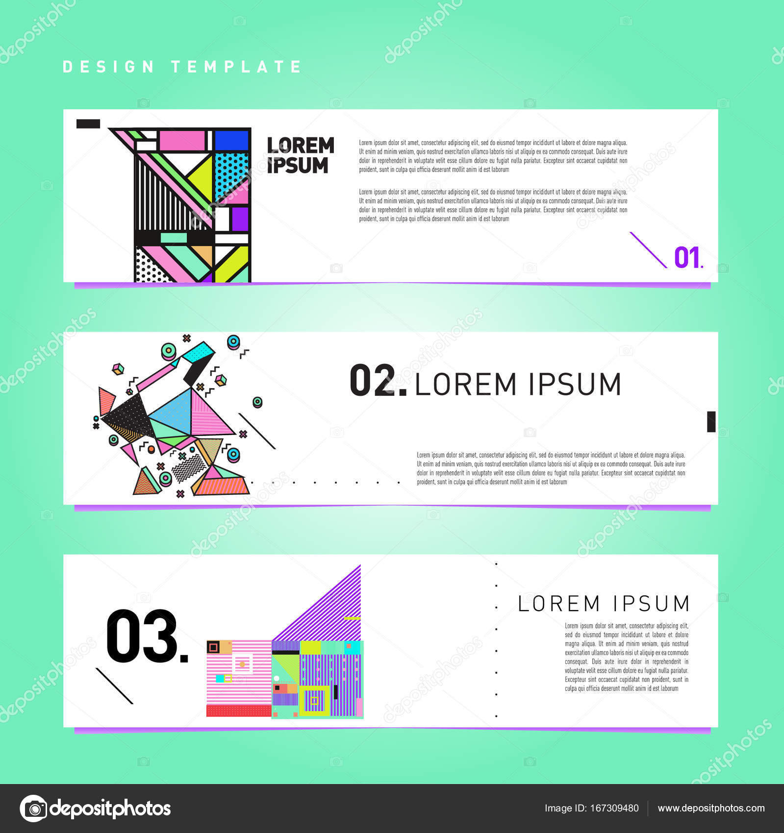 vector covers design set with retro style cool geometric memphis