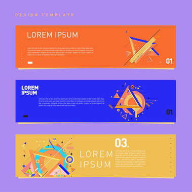 Vector covers design set with retro style. Cool geometric memphis style poster template with alphabets typography. Summer and autumn design template.