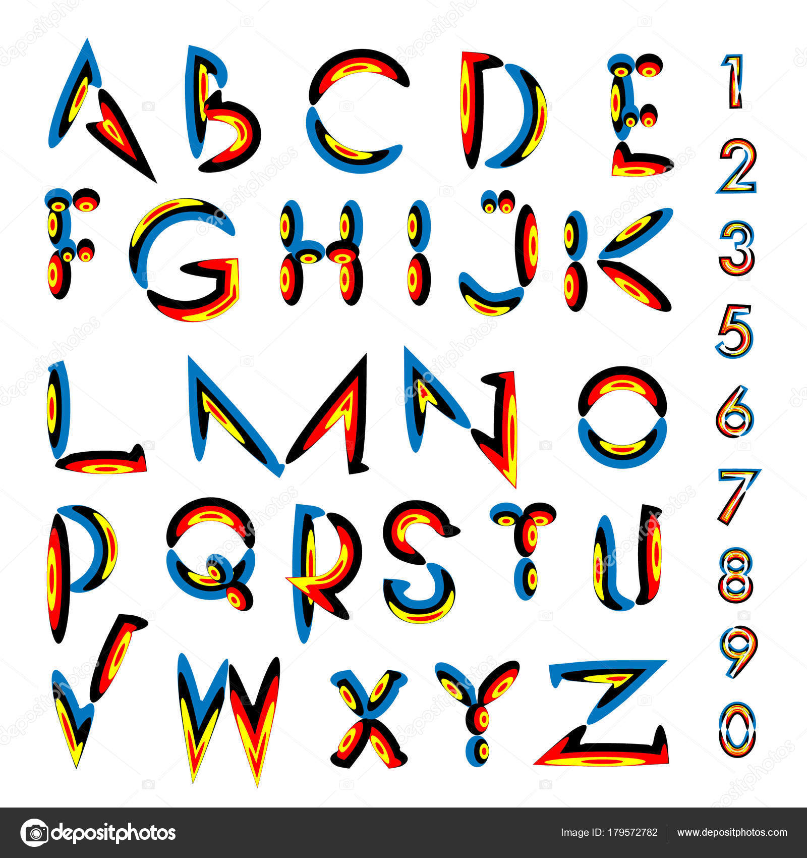 Vector Colorful Alphabet Unique Fonts Design Illustration Template Typography Poster Stock
