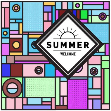 Trendy vector summer cards illustration with elements and abstract colorful textures. Design for holiday vacation poster, card, brochure, and promotion template. Fashion art print and background.