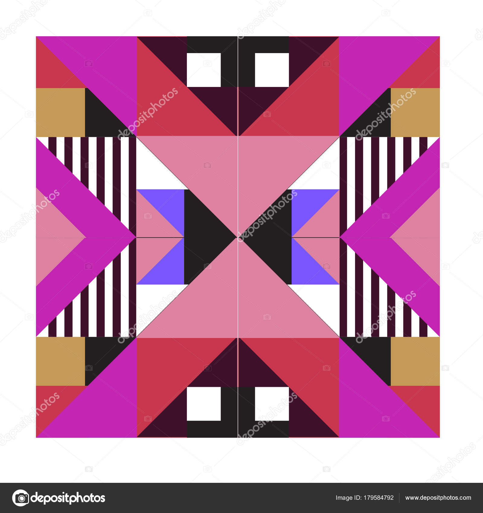 Trendy Geometric Kaleidoscope Elements Memphis Greeting Cards Design
