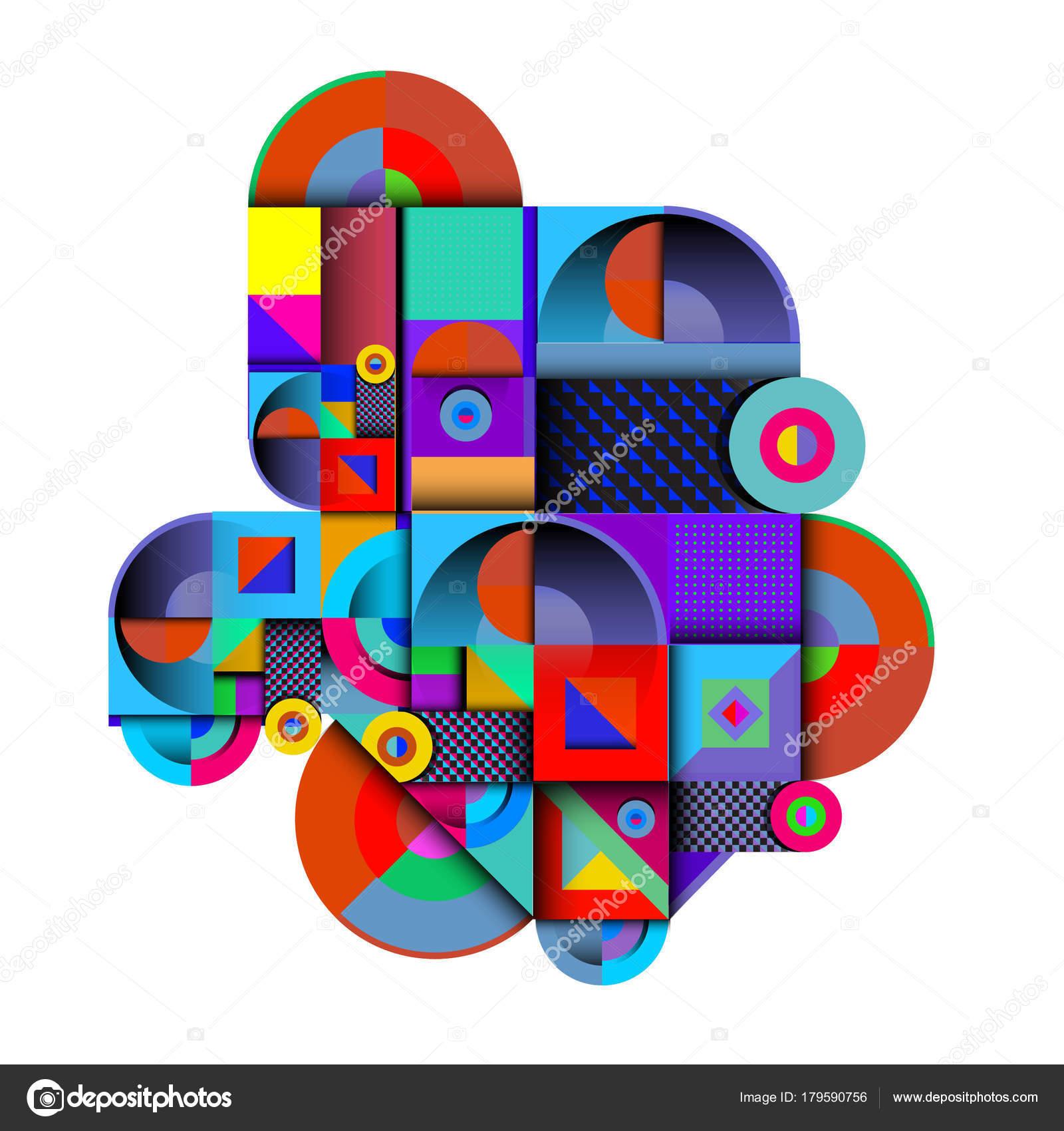 Trendy Curvy Geometric Memphis Elements Colorful Design Retro 90S Style