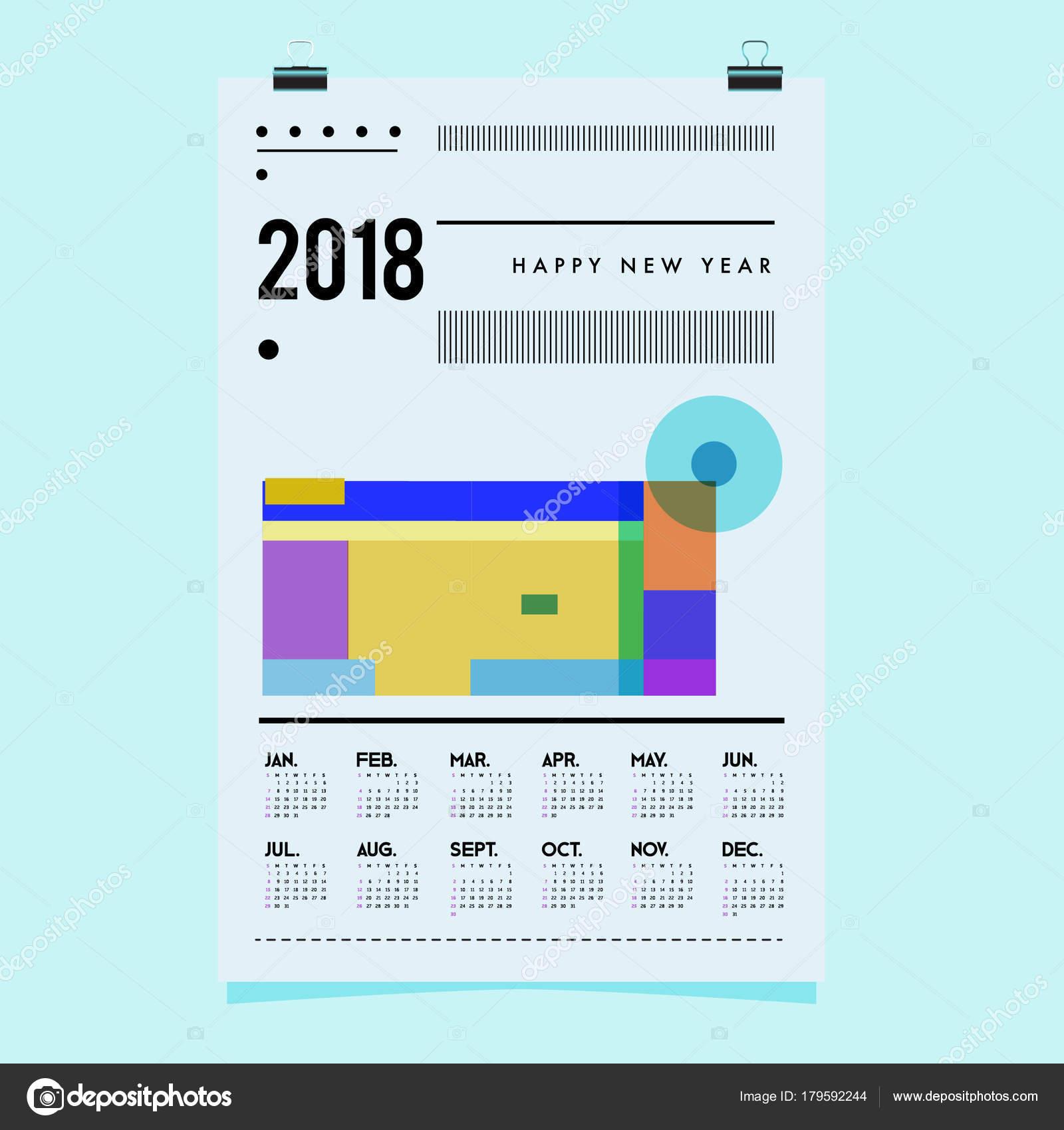 Neue Jahr 2018 Cover Kalendervorlage Kalender Und Poster Design ...