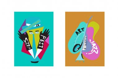 Colorful international jazz festival. Musicians, singers and musical instruments poster set flat vector illustration. Poster template for jazz and music events.