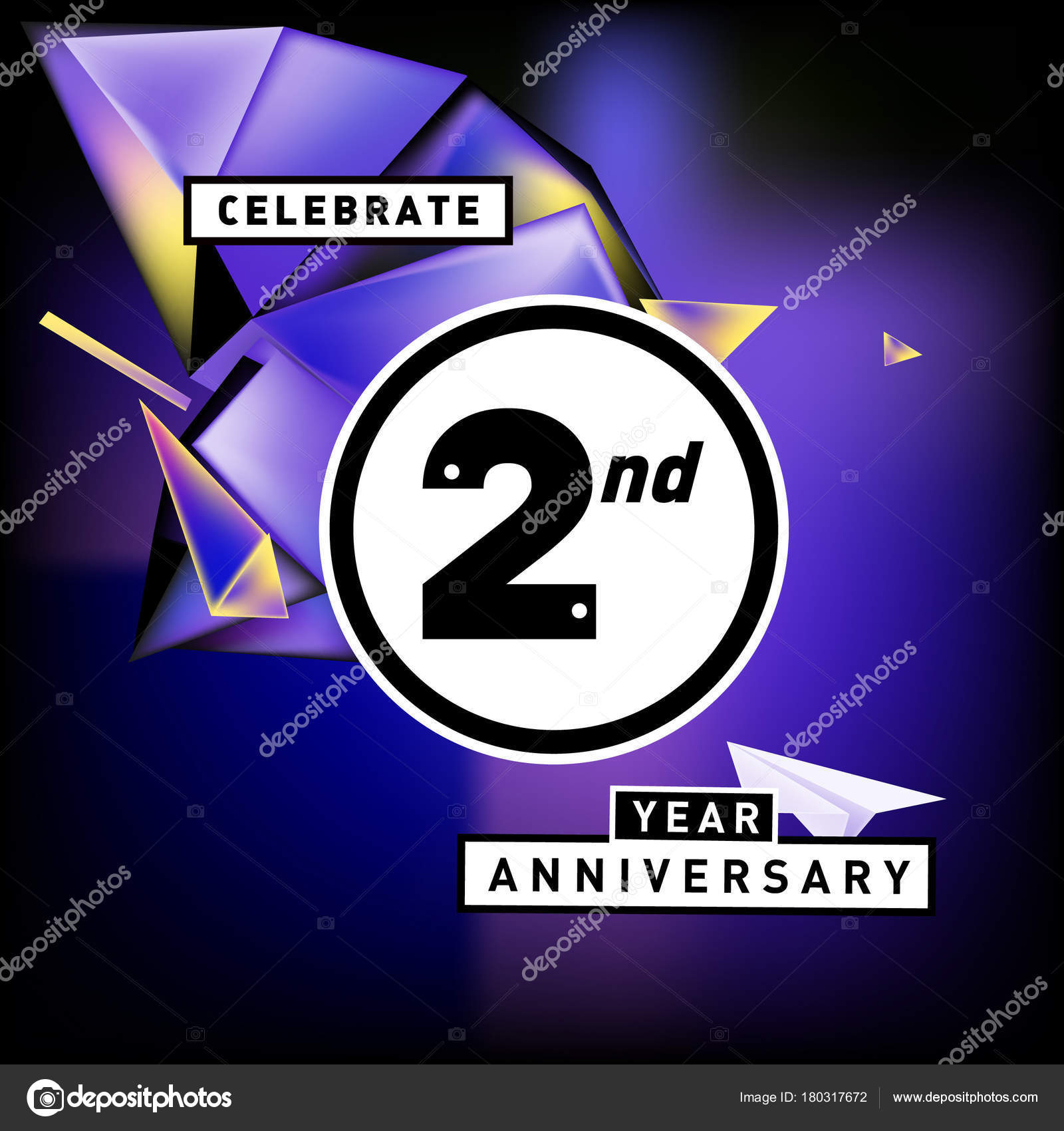 2nd years anniversary card colorful background two years birthday