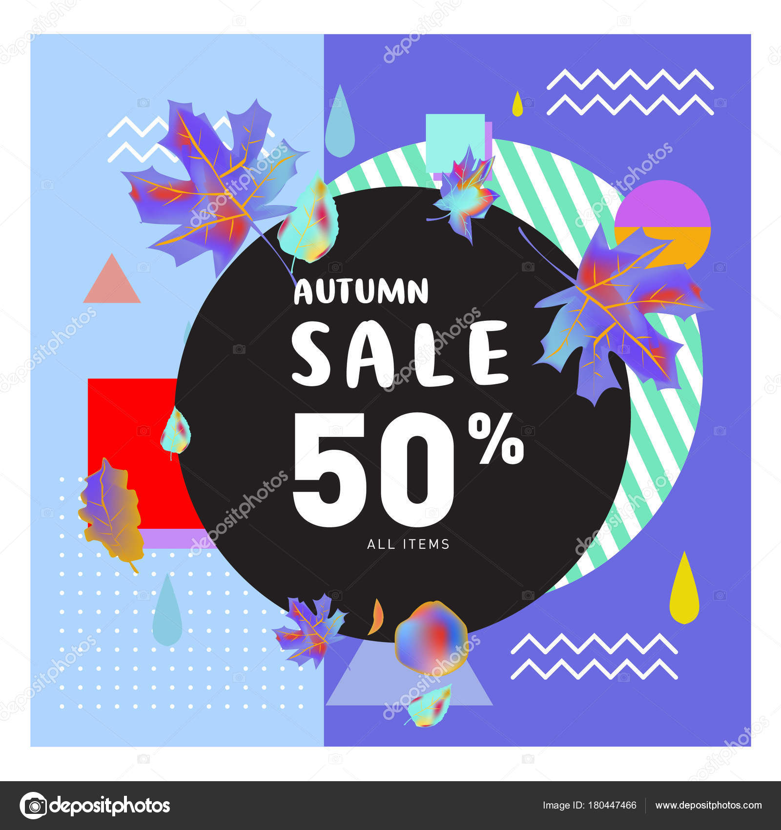 vector autumn sale poster template lettering bright fall leaves