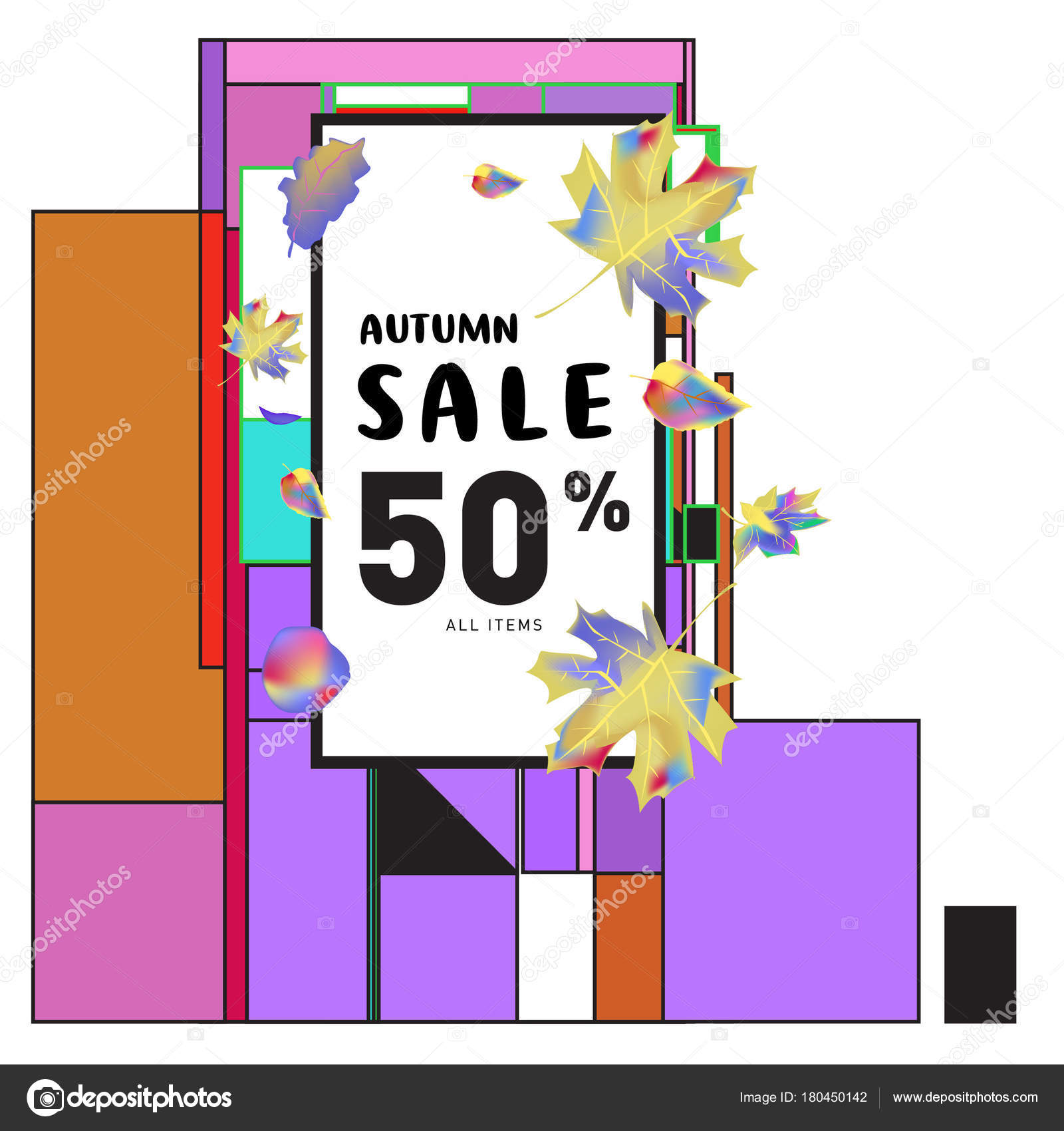 Vector Autumn Sale Poster Template Lettering Bright Fall Leaves  Depositphotos 180450142 Stock Illustration Vector Autumn Sale  For Sale Poster Template
