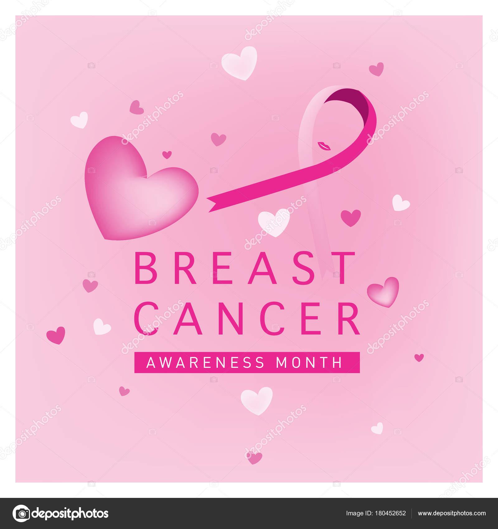 Breast Cancer Awareness Month Card Pink Ribbon Vector Illustration