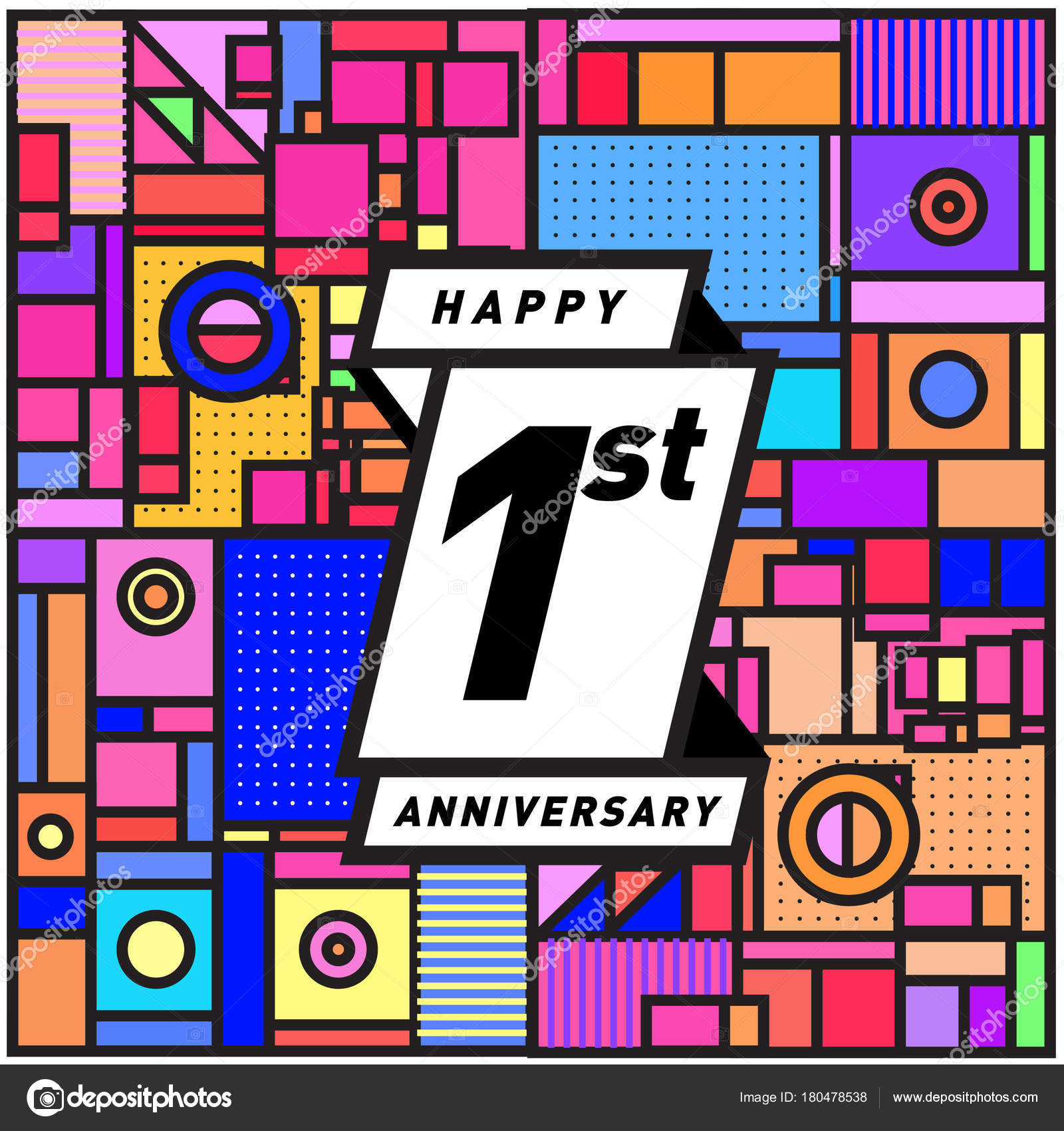 One Years Greeting Card Anniversary Colorful Number Frame Logo Icon