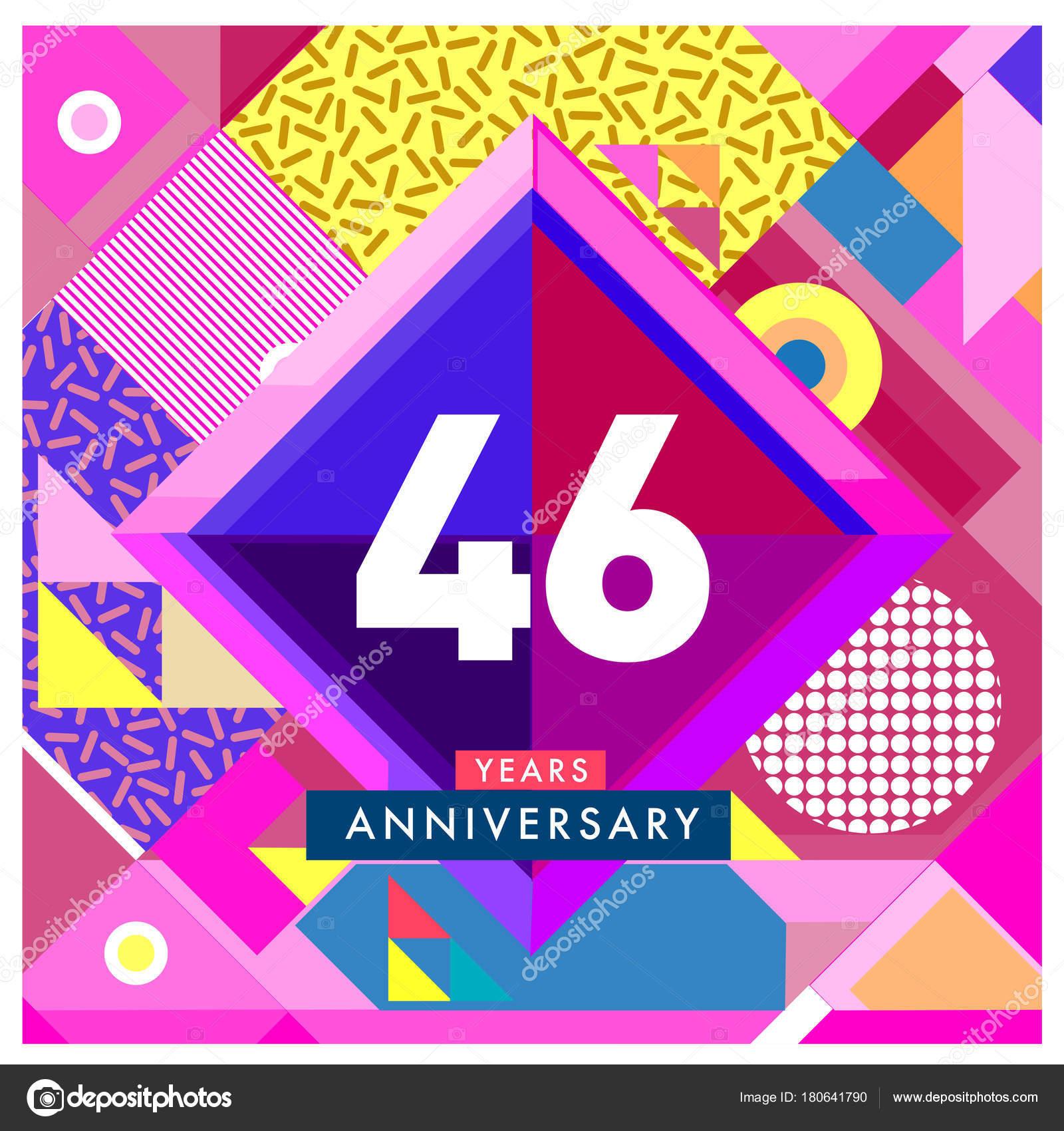 Cartolina Auguri Anniversario Anni Con Numero Colorato Telaio Logo