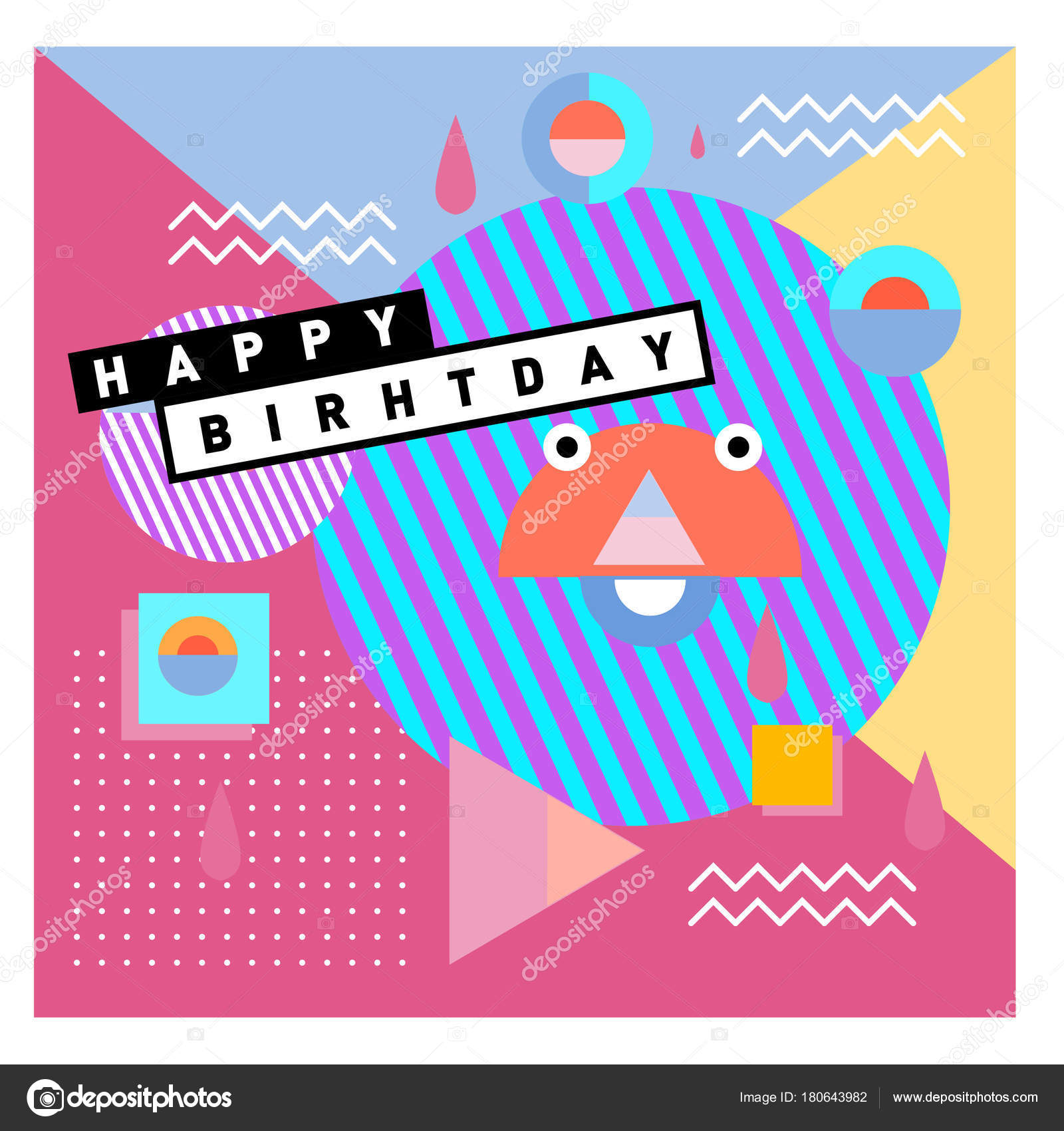 happy birthday memphis style vector design greeting cards poster