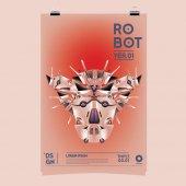 Vektorové ilustrace realistické Robot. Šablona návrhu plakát festivalu s robotem a hračky.