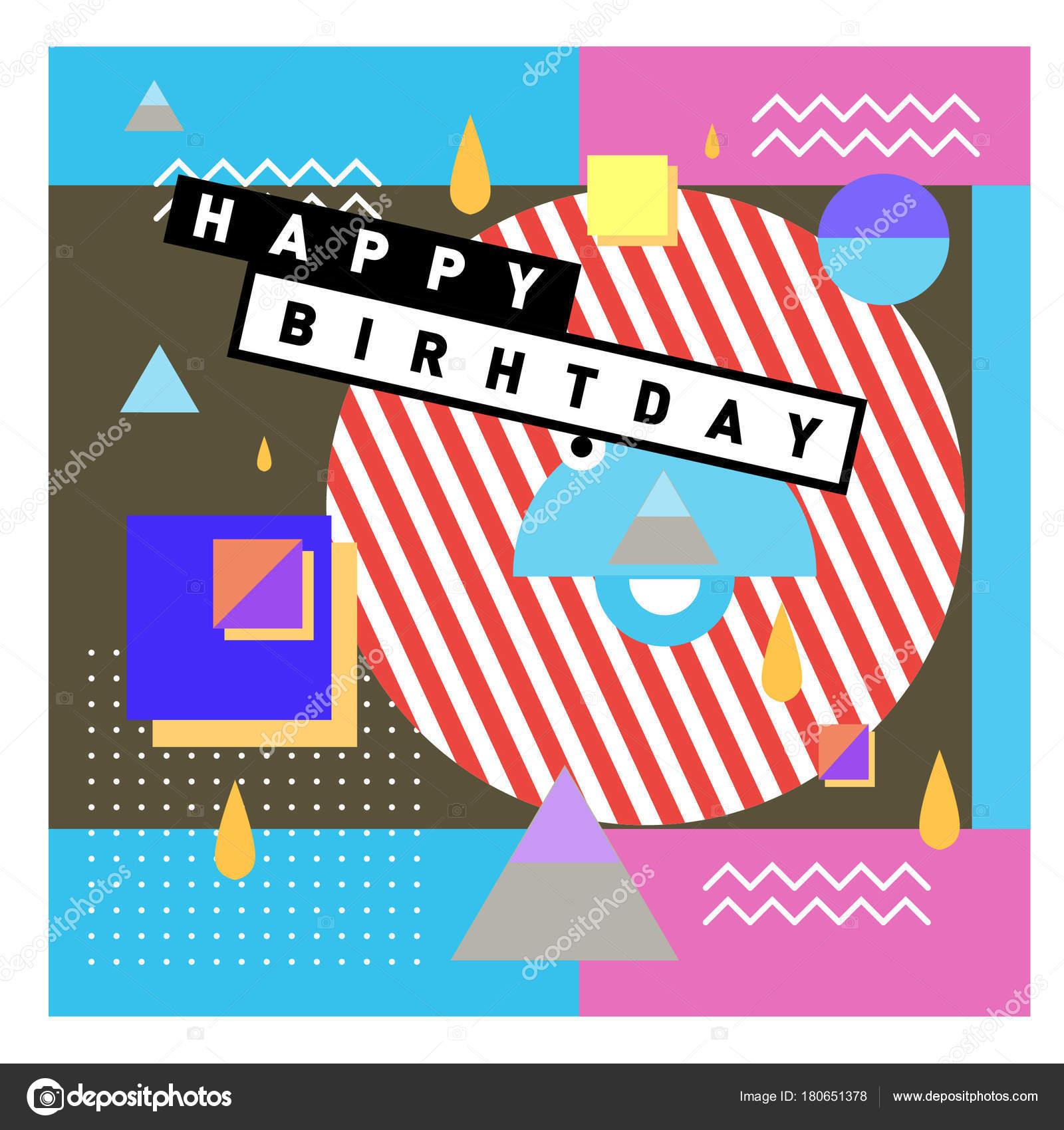 Plantillas Cumpleaños Word Feliz Cumpleaños Memphis Estilo
