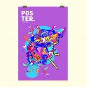 Abstraktní tekutých barev zahrnuje sadu. Složení tekutiny tvarů. Futuristický design plakáty. Šablona návrhu rozložení vektoru.