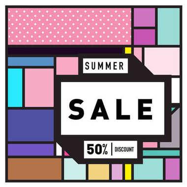 Summer sale memphis style web banner. Abstract colorful illustration with special offer and promotion.