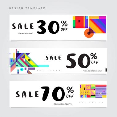 Sale and Discount Banner set. Colorful Memphis style banner template and background.