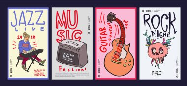 Music Festival Illustration Design for Jazz, Rock, Metal, Blues, Punk, and Live Music Concert 2020. Vector Illustration Collage of Music Festival Poster, Banner, Background and Wallpaper