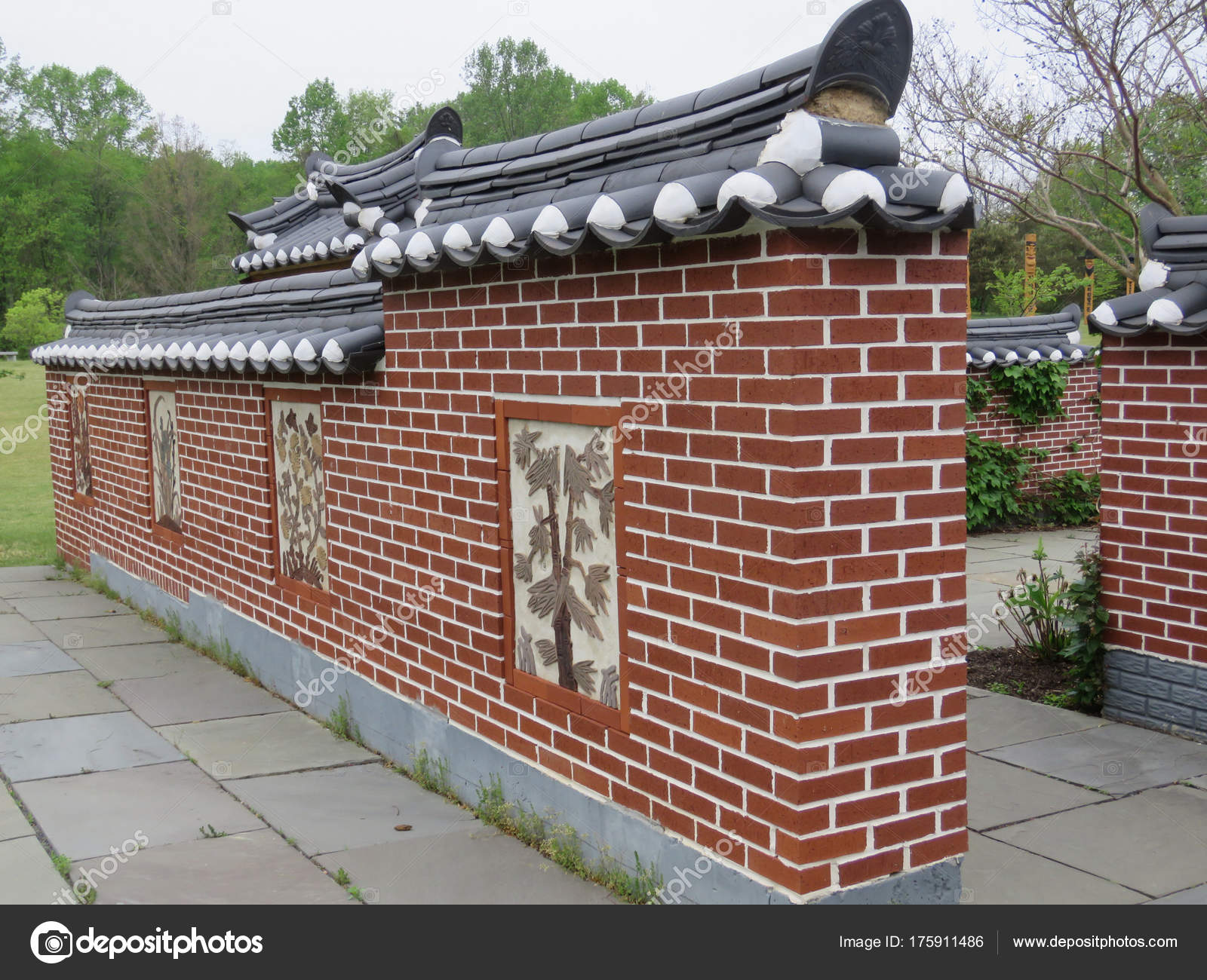 Vienna Korean Bell Garden the decorated wall 2016 – Stock Editorial ...