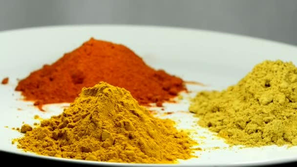 turmeric, chili, ginger, powder on turn table