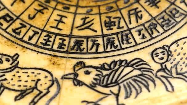 starožitný čínský Feng Shui kompas s 12 znamení čínského zvěrokruhu na otočném stole