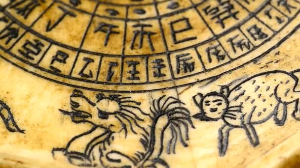 antique Chinese Feng Shui compass with 12 sign of the chinese zodiac on turn table