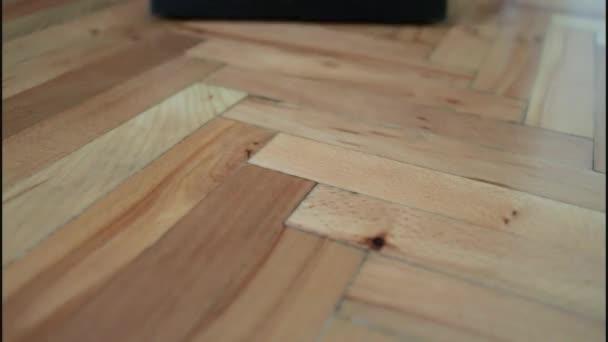 Žena vysávání dřevěné podlahy