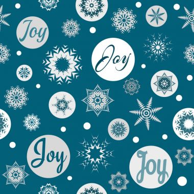 Joy text design illustration for Christmas with snow and snowflakes decoration on blue background