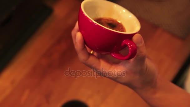 Barista prepares latte