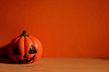 halloween holiday concept pumpkin on wooden table