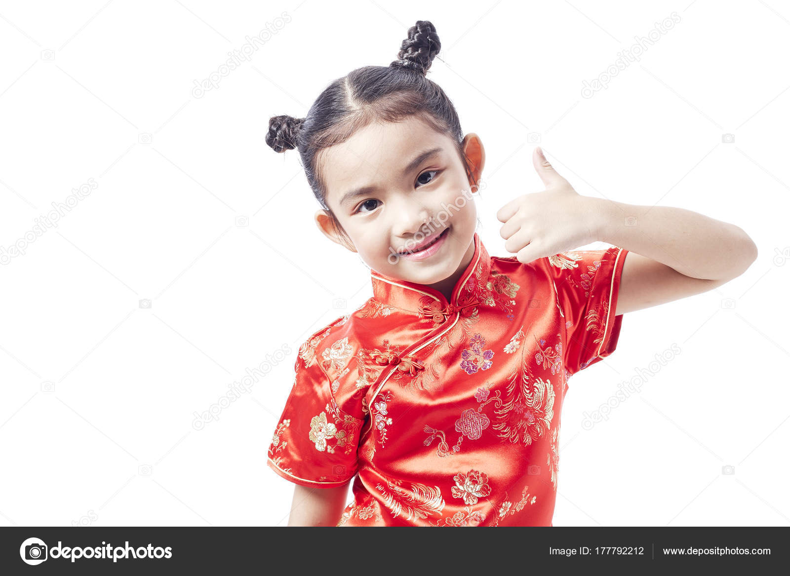 476a041af7ab Little Asian Child Chinese Traditional Dress Chinese New Year — Stock Photo
