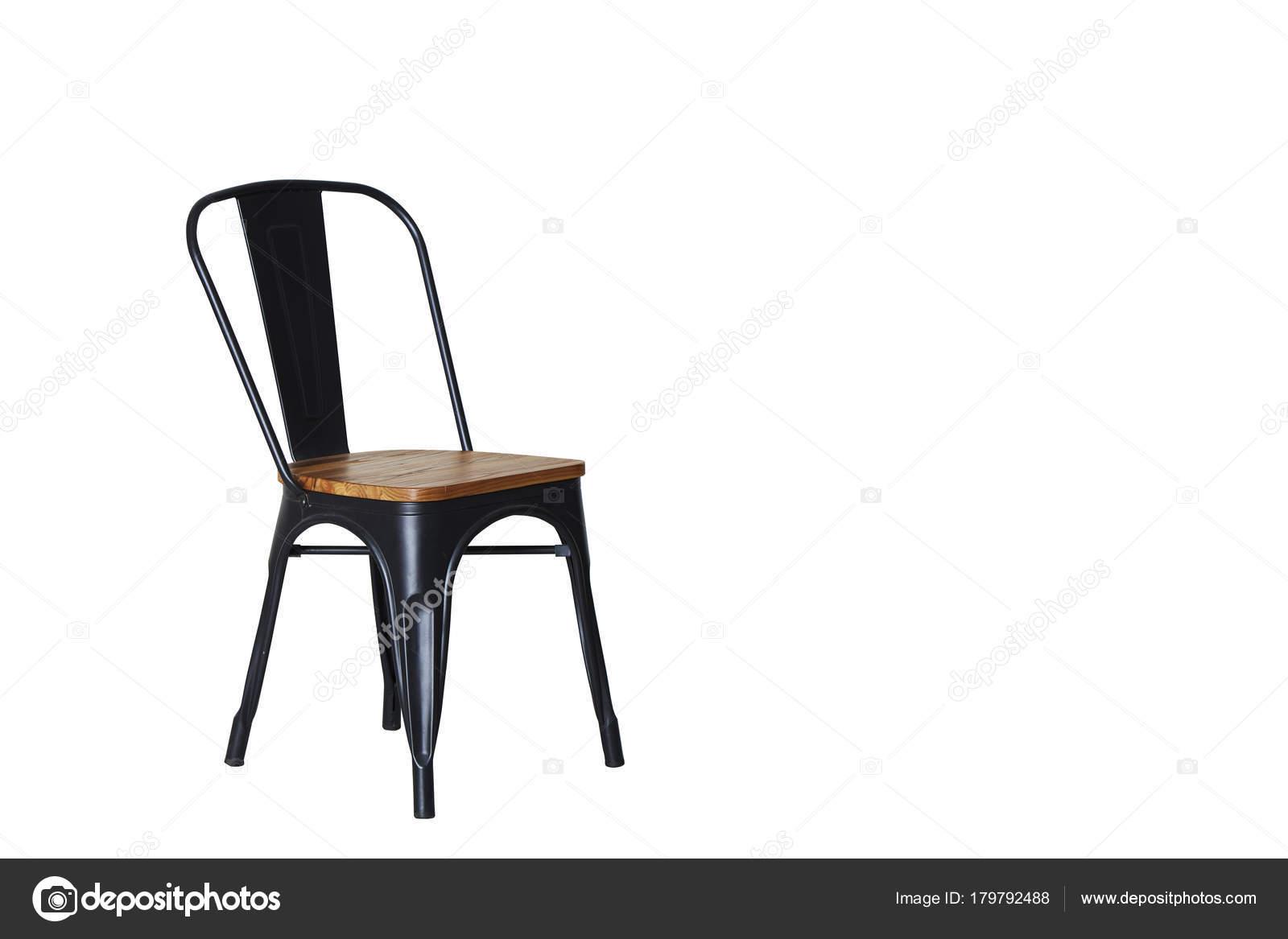 Chaise Avec Bois Blanc Clair — Photographie Des Acier Fond Sur E2HID9