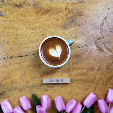 coffee mug with tulip bouquet