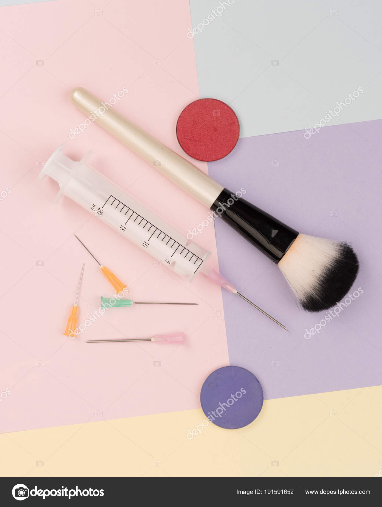 Cosmetic Surgery Makeup Makeup Brushes Syringes Colorful Backgrounds– stock image