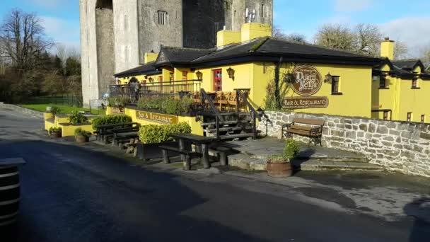 Castello di Bunratty e Durty Nelly Irish Pub, Irlanda - 30 novembre 2017: bellissima vista dellIrlanda più famoso castello e Irish Pub a Contea di Clare. Attrazione turistica di fama mondiale. Castello di Bunratty e di Durty Nellys Pub