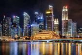 Beautiful night view of skyscrapers by Marina Bay, Singapore