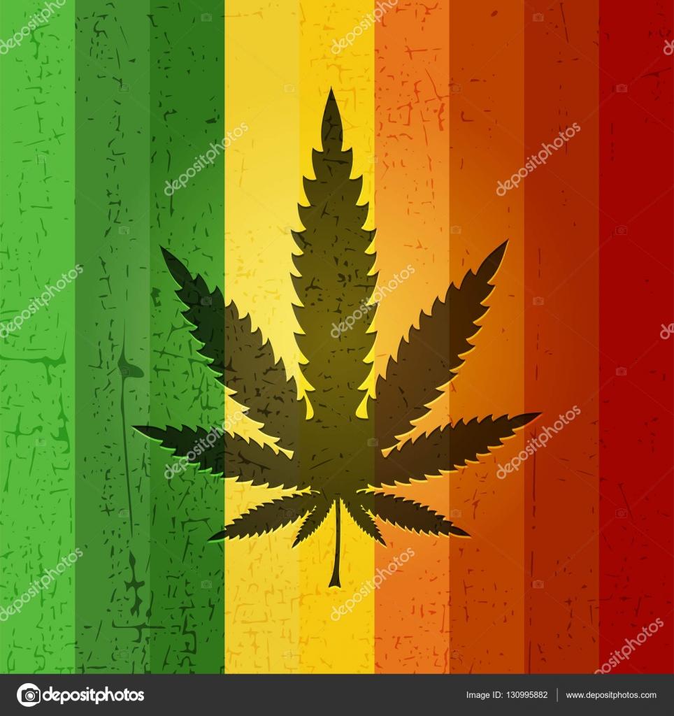 Feuille de cannabis sur fond grunge couleur Rasta — Image