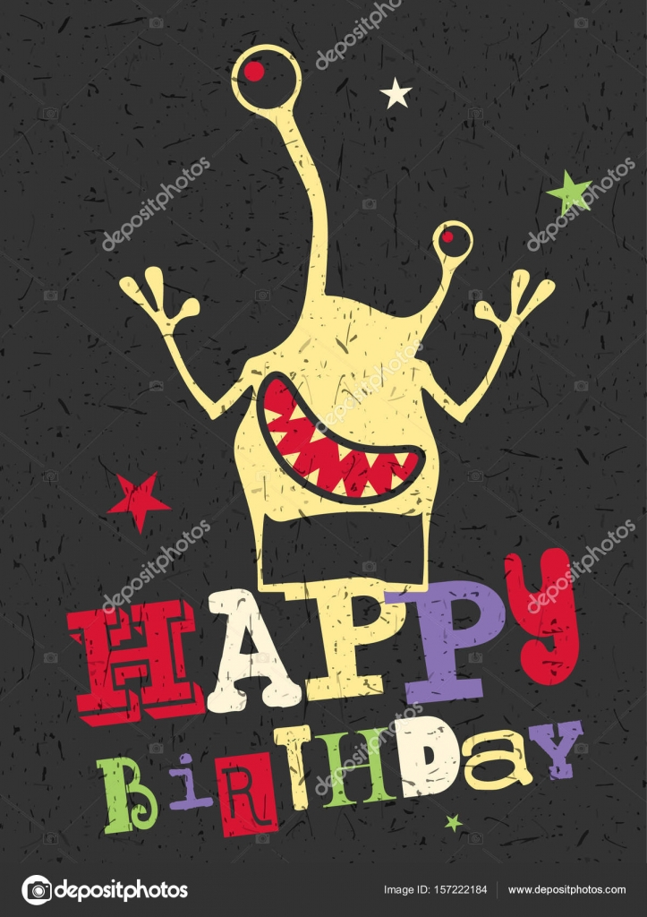 Happy Birthday Gift Card With Cute Color Monster Stockillustration