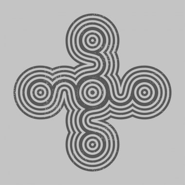 Black cross with grunge shapes on grey background