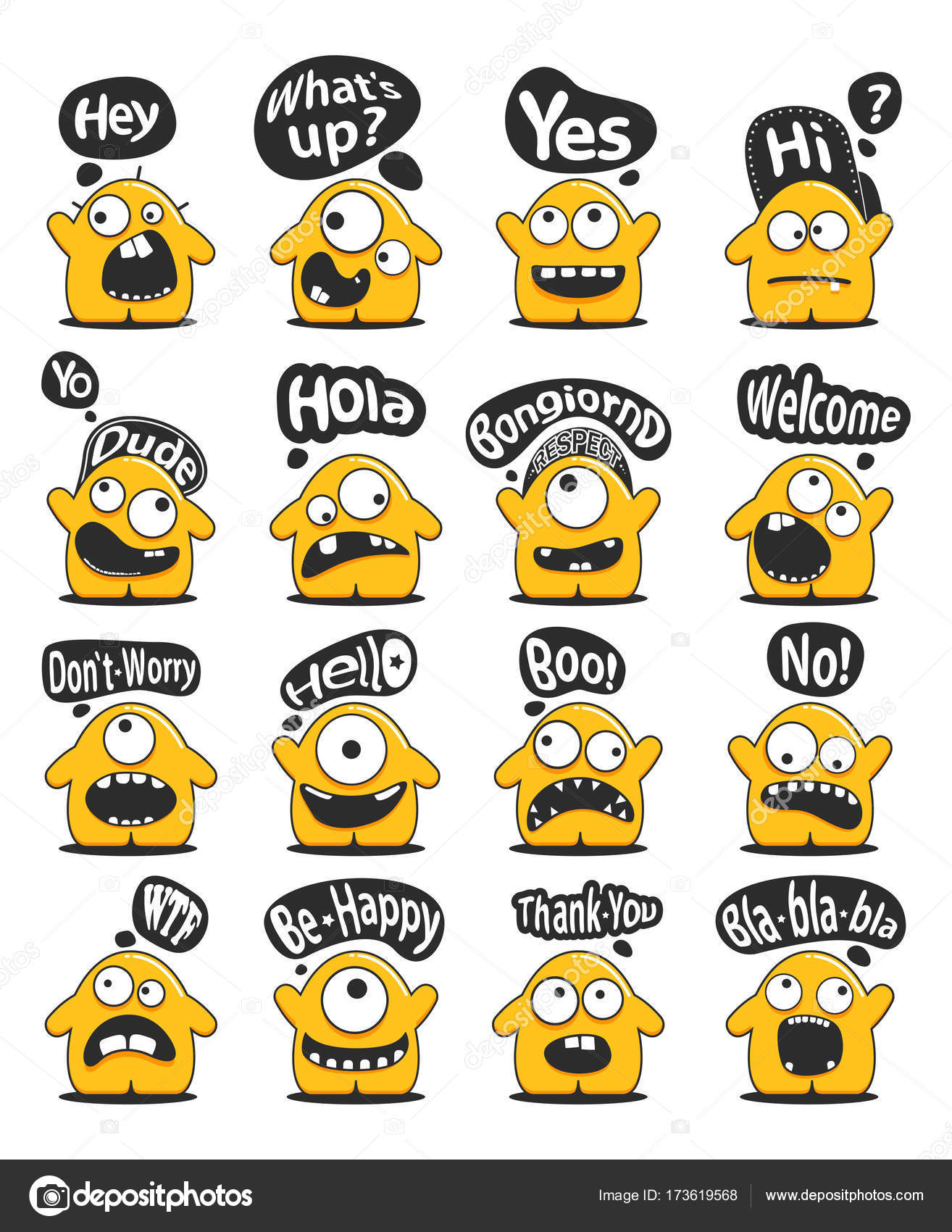 Set of sixteen funny yellow personage with cute emotions and message set of sixteen funny yellow personage with cute emotions and message cloud with greeting text isolated m4hsunfo