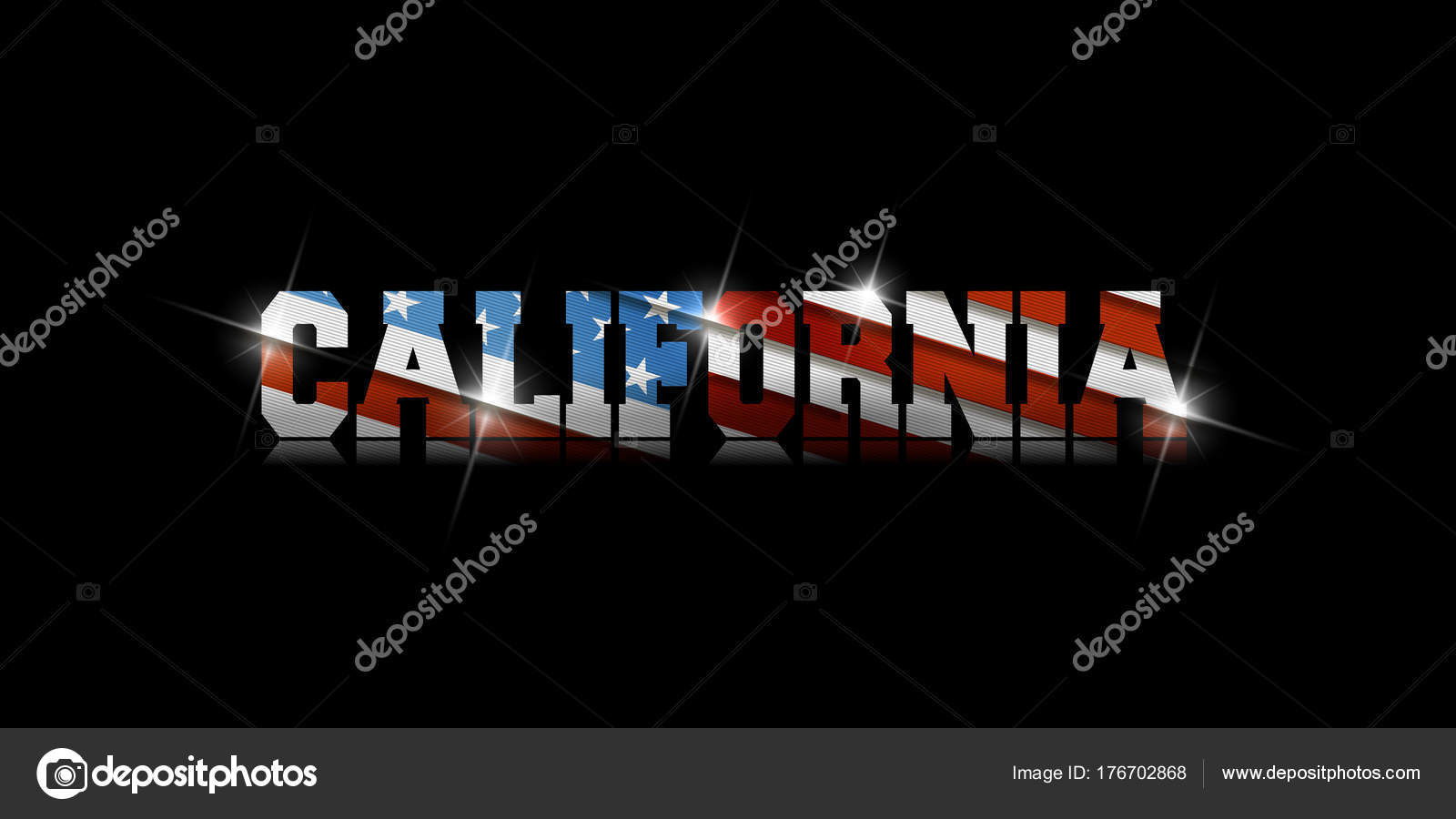 Inscription California With The US Flag Inside On Black Background Vector By Aleabievsasha Find Similar Images